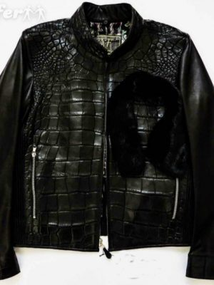 fredo-ferrucci-crocodile-alligator-jacket-mink-fur-new-b705