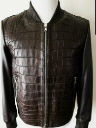 FREDO FERRUCCI Brown Crocodile Alligator Leather Bomber Jacket