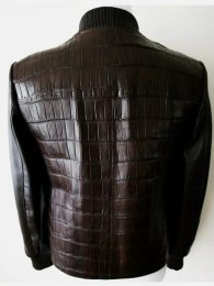 FREDO FERRUCCI Brown Crocodile Alligator Leather Bomber Jacket