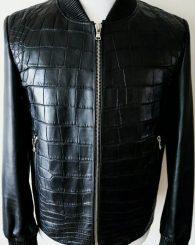 Fredo Ferrucci Black Crocodile Alligator Leather Bomber Jacket