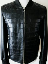 Fredo Ferrucci Black Crocodile Alligator Leather Bomber Jacket